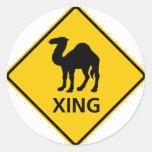 Muestra de la carretera de la travesía del camello pegatinas redondas