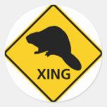 Muestra de la carretera de la travesía del castor pegatinas redondas