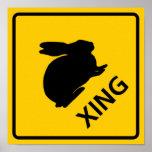 Muestra de la carretera de la travesía del conejo posters
