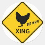 Muestra de la carretera de la travesía del pollo etiquetas redondas