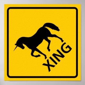 Muestra de la carretera de la travesía del unicorn póster