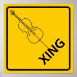 Muestra de la carretera de la travesía del violonc póster