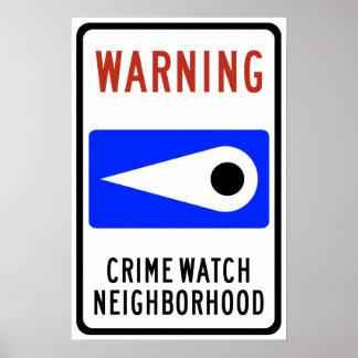 Muestra de la carretera de la vecindad del reloj d póster