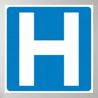 Muestra de la carretera de la zona del hospital póster