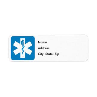 Muestra de la carretera de los servicios médicos etiqueta de remite