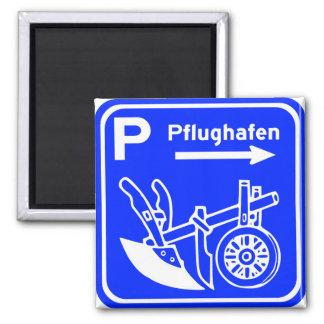 Muestra de la carretera de Pflughafen Schild Iman De Nevera