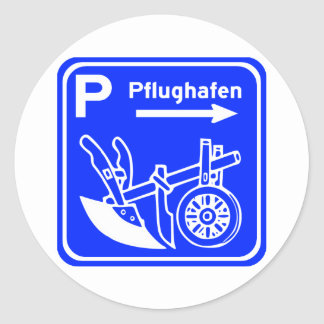 Muestra de la carretera de Pflughafen Schild Pegatinas Redondas