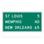 Muestra de la carretera de St. Louis Memphis New O Tarjetas Postales