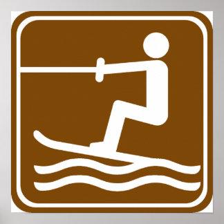 Muestra de la carretera del esquí acuático póster