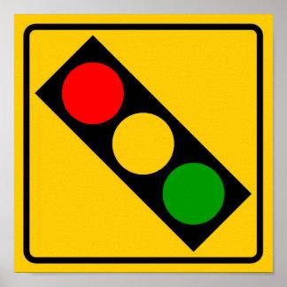 Muestra de la carretera del semáforo a continuació poster