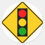 Muestra de la carretera del semáforo a pegatina redonda