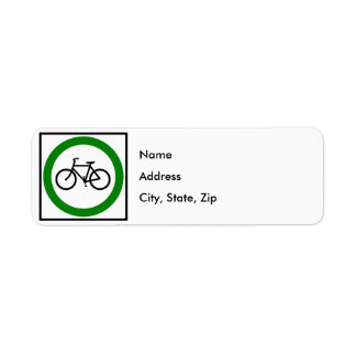 Muestra de la carretera del tráfico de bicicleta etiqueta de remite