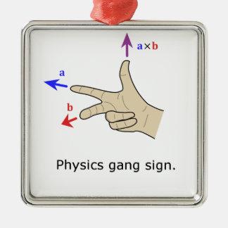 Muestra de la cuadrilla de la física del producto adorno navideño cuadrado de metal