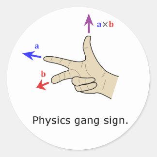 Muestra de la cuadrilla de la física del producto pegatina redonda