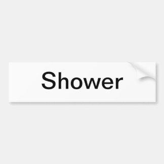 Muestra de la ducha etiqueta de parachoque