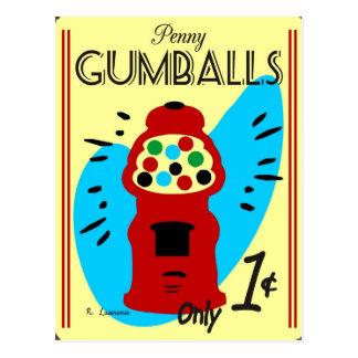 Muestra de la lata de Gumballs del penique Tarjetas Postales