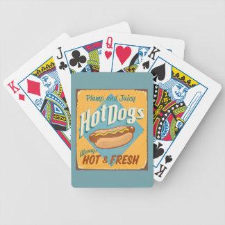 Muestra de la lata del vintage - perritos caliente barajas de cartas