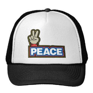 Muestra de la mano de la paz gorros bordados