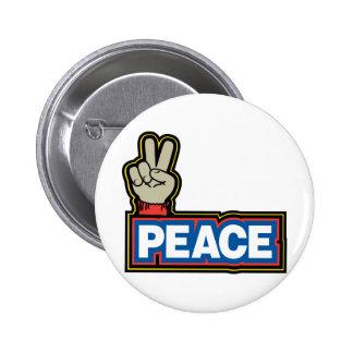 Muestra de la mano de la paz pin redondo 5 cm