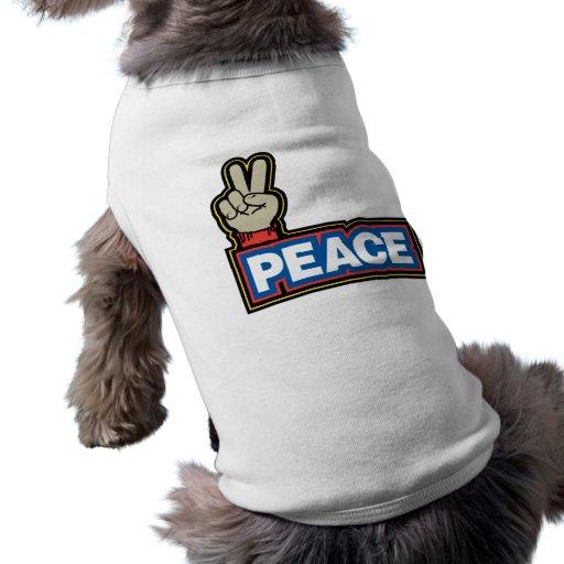 Muestra de la mano de la paz ropa de perros