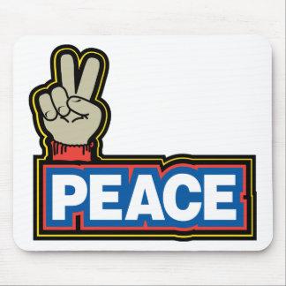Muestra de la mano de la paz tapetes de raton