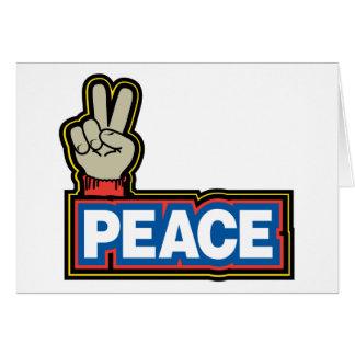 Muestra de la mano de la paz tarjeta de felicitación