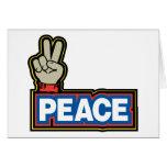 Muestra de la mano de la paz tarjeton