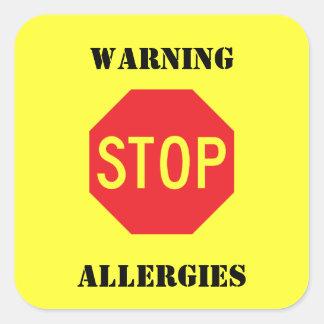 Muestra de la parada - alergias de cuidado pegatina cuadrada