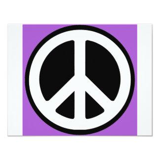 """¡Muestra de la púrpura de la paz! Invitación 4.25"""" X 5.5"""""""
