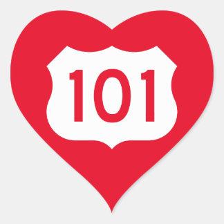 Muestra de la ruta 101 de los E.E.U.U. Pegatina En Forma De Corazón