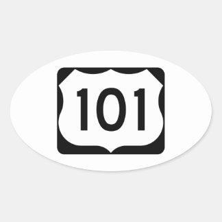Muestra de la ruta 101 de los E.E.U.U. Pegatina Ovalada