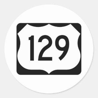 Muestra de la ruta 129 de los E.E.U.U. Pegatina Redonda