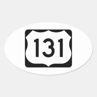 Muestra de la ruta 131 de los E.E.U.U. Pegatina Ovalada