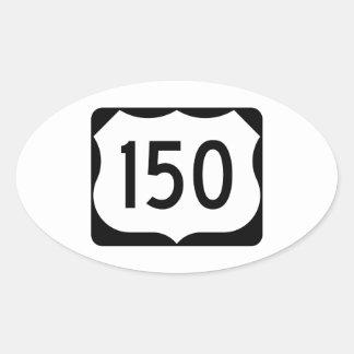 Muestra de la ruta 150 de los E.E.U.U. Pegatina Ovalada