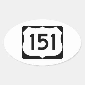 Muestra de la ruta 151 de los E.E.U.U. Pegatina Ovalada