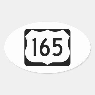 Muestra de la ruta 165 de los E.E.U.U. Pegatina Ovalada