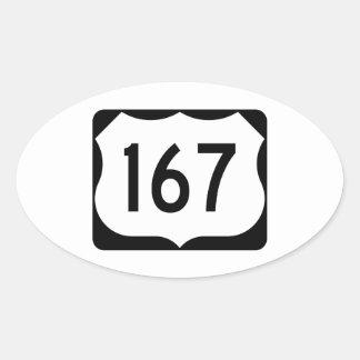 Muestra de la ruta 167 de los E.E.U.U. Pegatina Ovalada