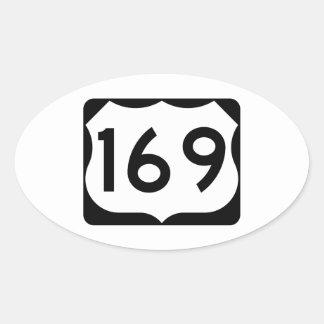 Muestra de la ruta 169 de los E.E.U.U. Pegatina Ovalada