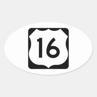 Muestra de la ruta 16 de los E.E.U.U. Pegatina Ovalada