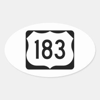 Muestra de la ruta 183 de los E.E.U.U. Pegatina Ovalada
