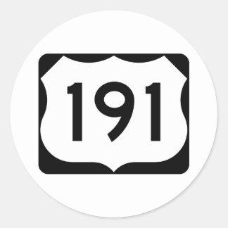 Muestra de la ruta 191 de los E.E.U.U. Pegatina Redonda