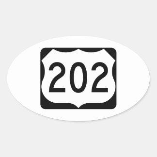 Muestra de la ruta 202 de los E.E.U.U. Pegatina Ovalada