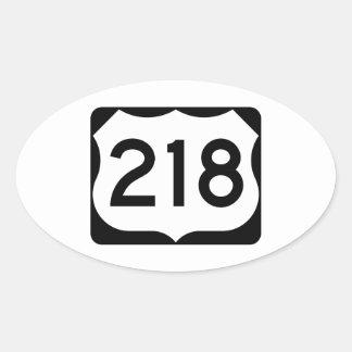 Muestra de la ruta 218 de los E.E.U.U. Pegatina Ovalada