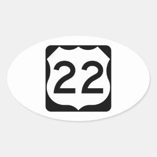 Muestra de la ruta 22 de los E.E.U.U. Pegatina Ovalada