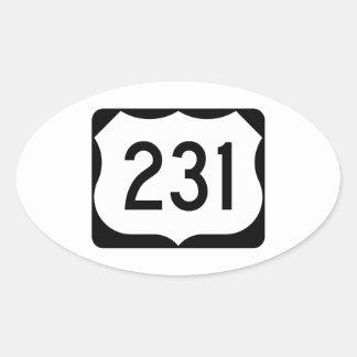 Muestra de la ruta 231 de los E.E.U.U. Pegatina Ovalada