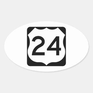 Muestra de la ruta 24 de los E.E.U.U. Pegatina Ovalada
