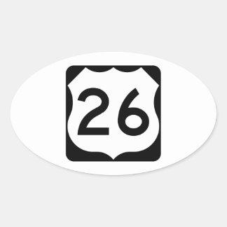 Muestra de la ruta 26 de los E.E.U.U. Pegatina Ovalada