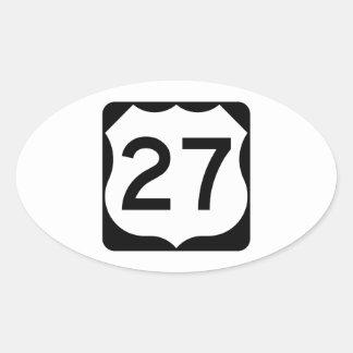 Muestra de la ruta 27 de los E.E.U.U. Pegatina Ovalada