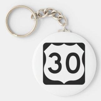 Muestra de la ruta 30 de los E.E.U.U. Llavero Redondo Tipo Pin