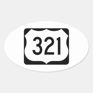Muestra de la ruta 321 de los E.E.U.U. Pegatina Ovalada
